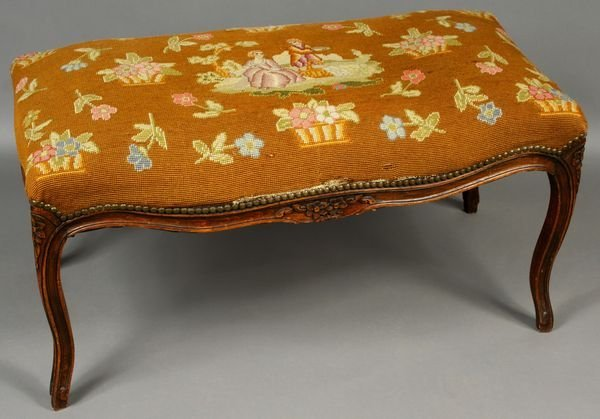 2019: 19th Century French Walnut Needlepoint Bench