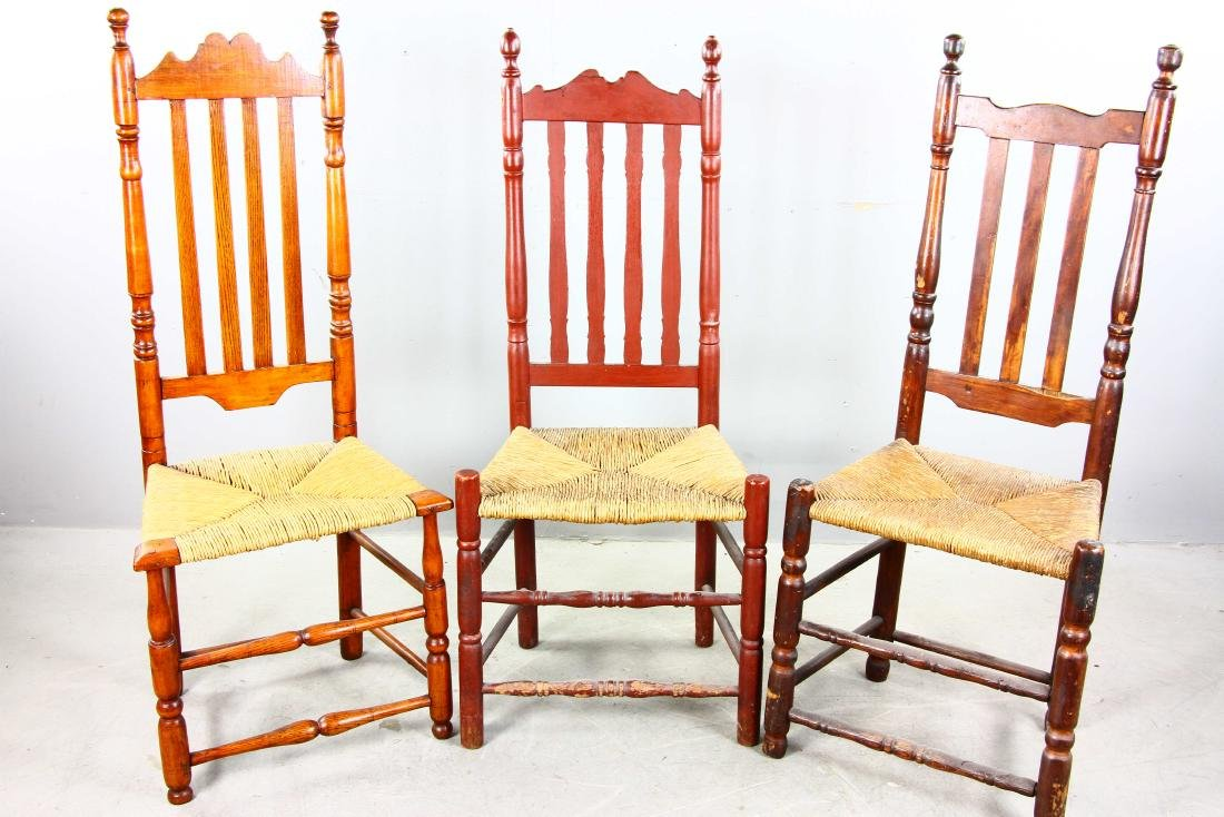 Three Split Bannister Back Chairs