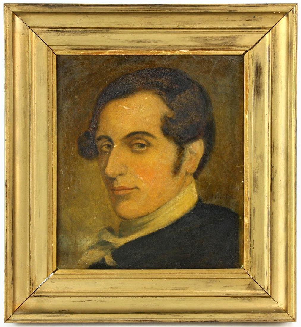 Early Portrait of Young Man, Oil on Board