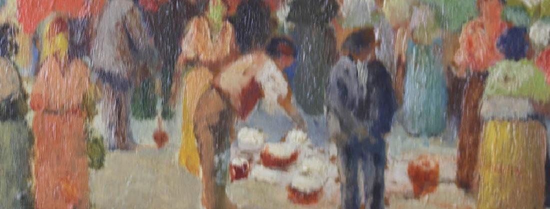 Italian Market Scene Oil on Board - 4