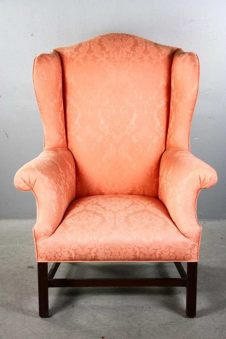 Chippendale-style Upholstered Wing Chair