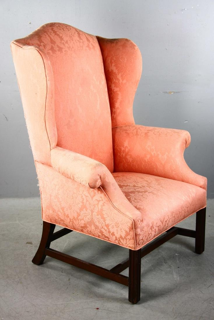 Chippendale-style Upholstered Wing Chair - 2
