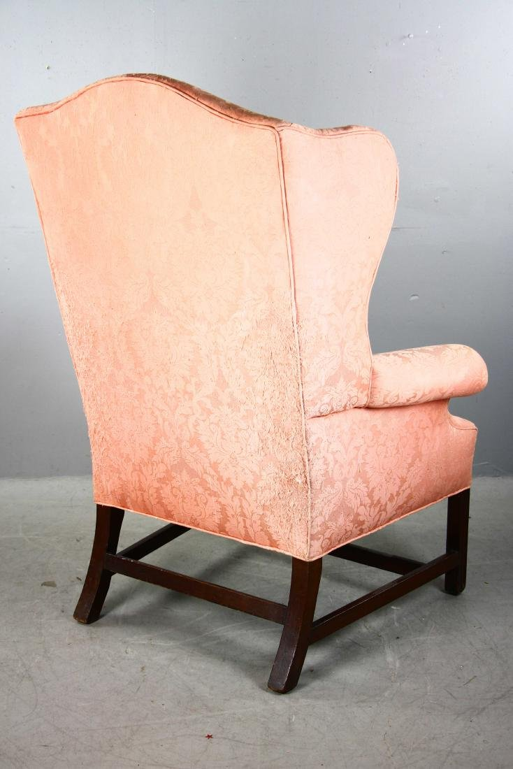 Chippendale-style Upholstered Wing Chair - 3