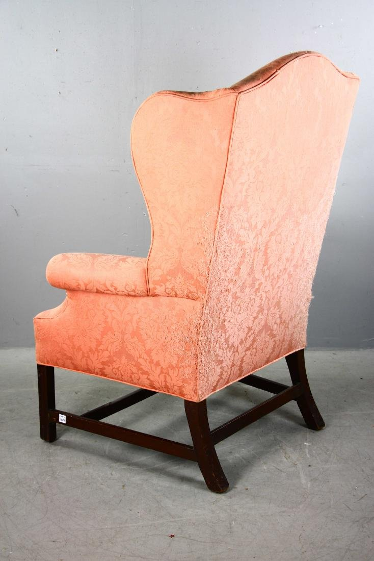 Chippendale-style Upholstered Wing Chair - 4