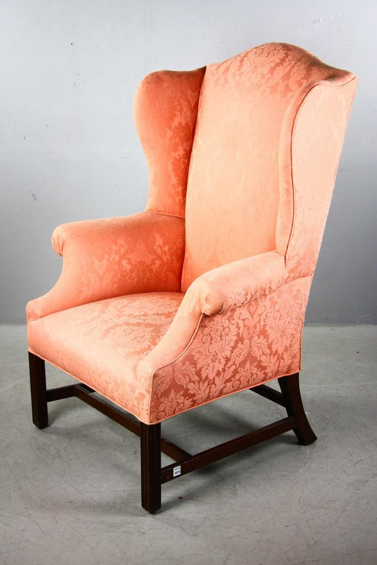 Chippendale-style Upholstered Wing Chair - 5
