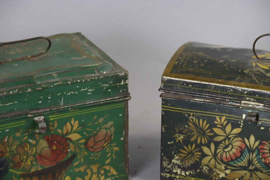 Group of Ten Toleware Covered Boxes - 10