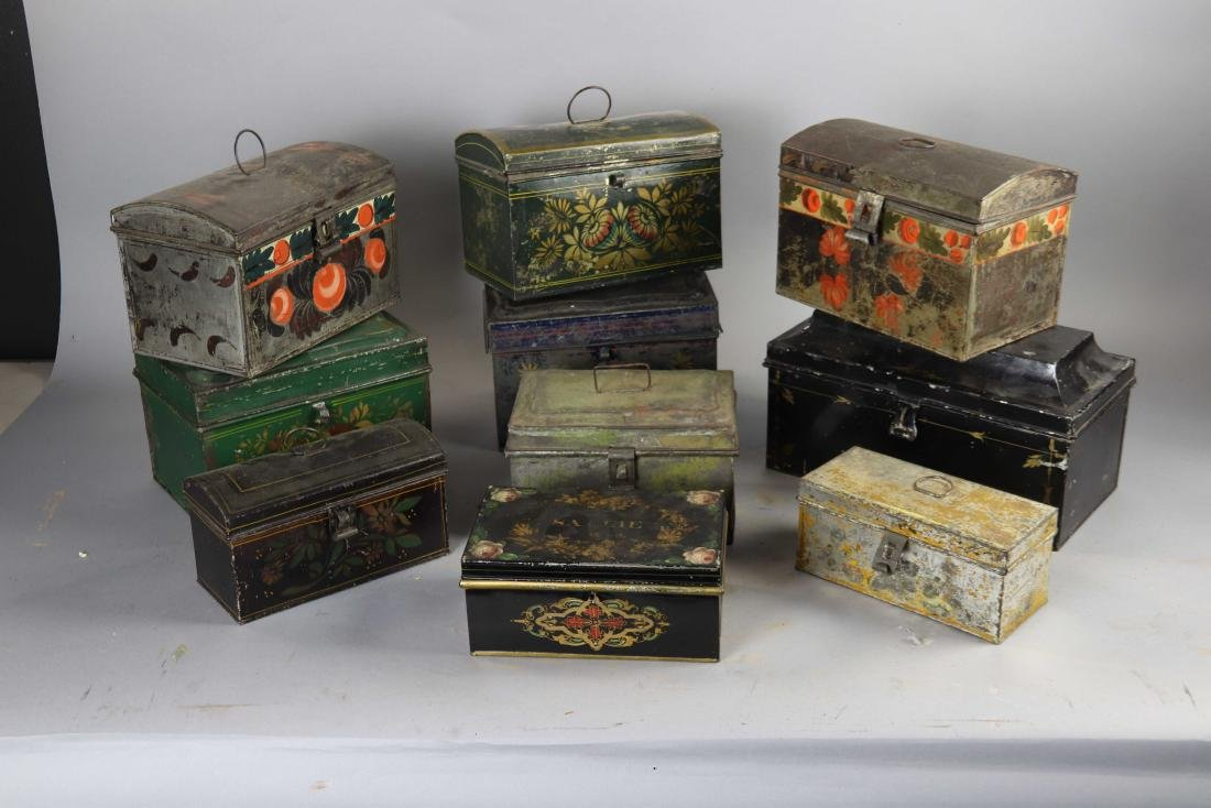 Group of Ten Toleware Covered Boxes