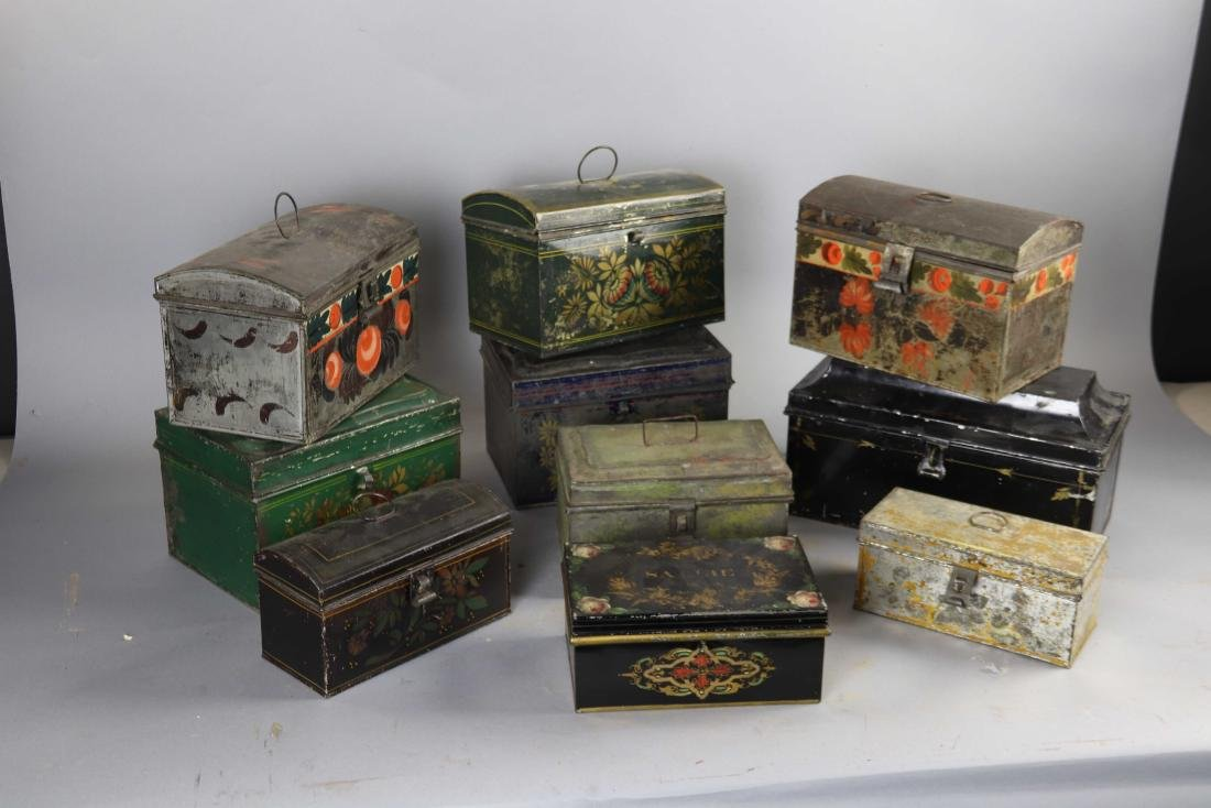 Group of Ten Toleware Covered Boxes - 2