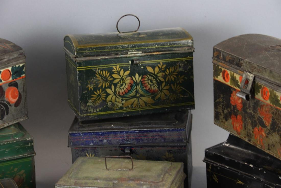 Group of Ten Toleware Covered Boxes - 3