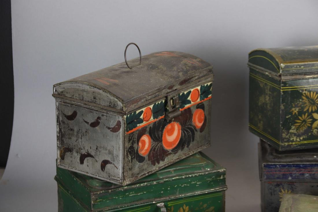 Group of Ten Toleware Covered Boxes - 4