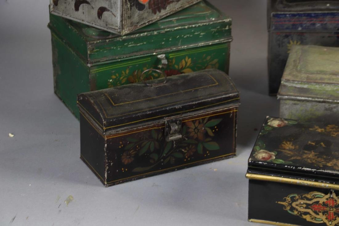 Group of Ten Toleware Covered Boxes - 5