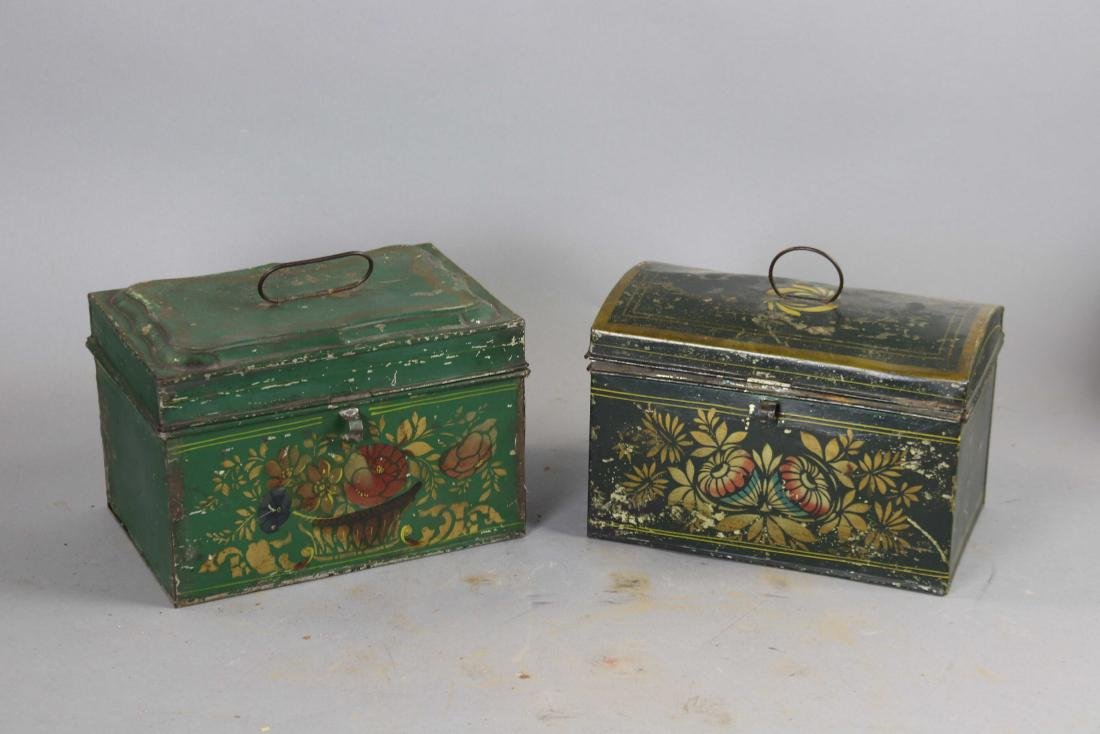 Group of Ten Toleware Covered Boxes - 9
