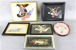 Group of Victorian Framed Feather Art