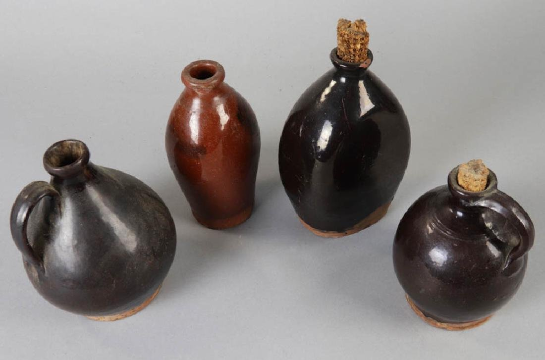 Four Early New England Redware Jugs - 2