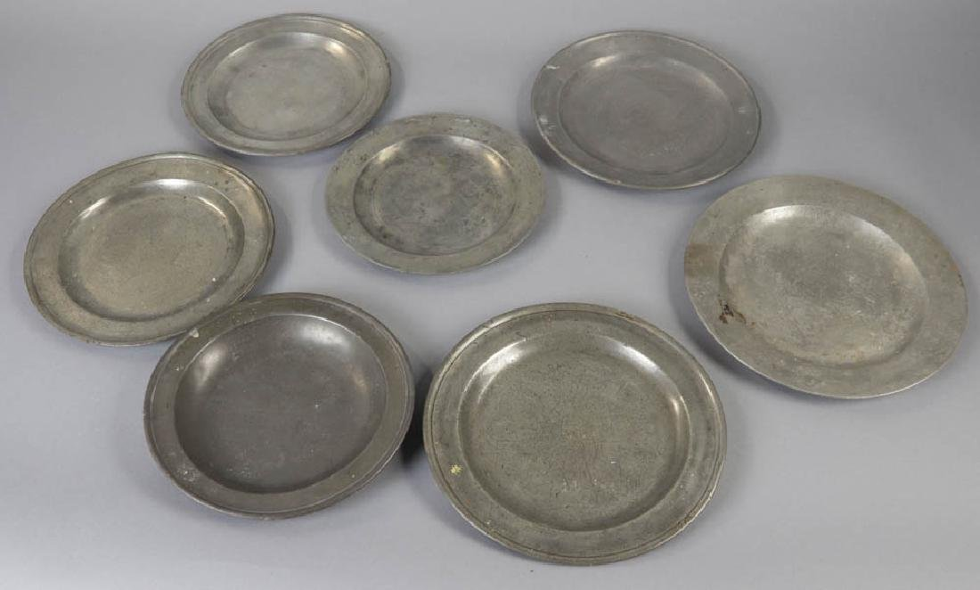 Seven Early English Pewter Plates