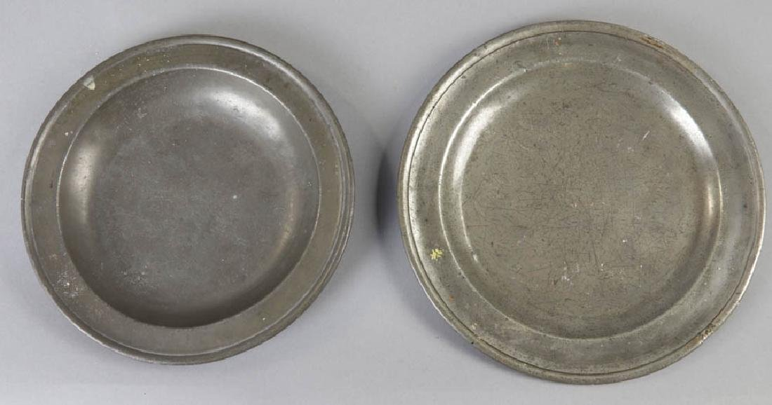 Seven Early English Pewter Plates - 2