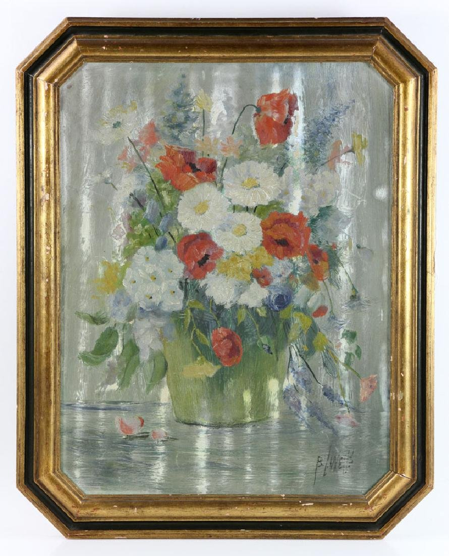 Wells, Floral Still Life, Oil on Board