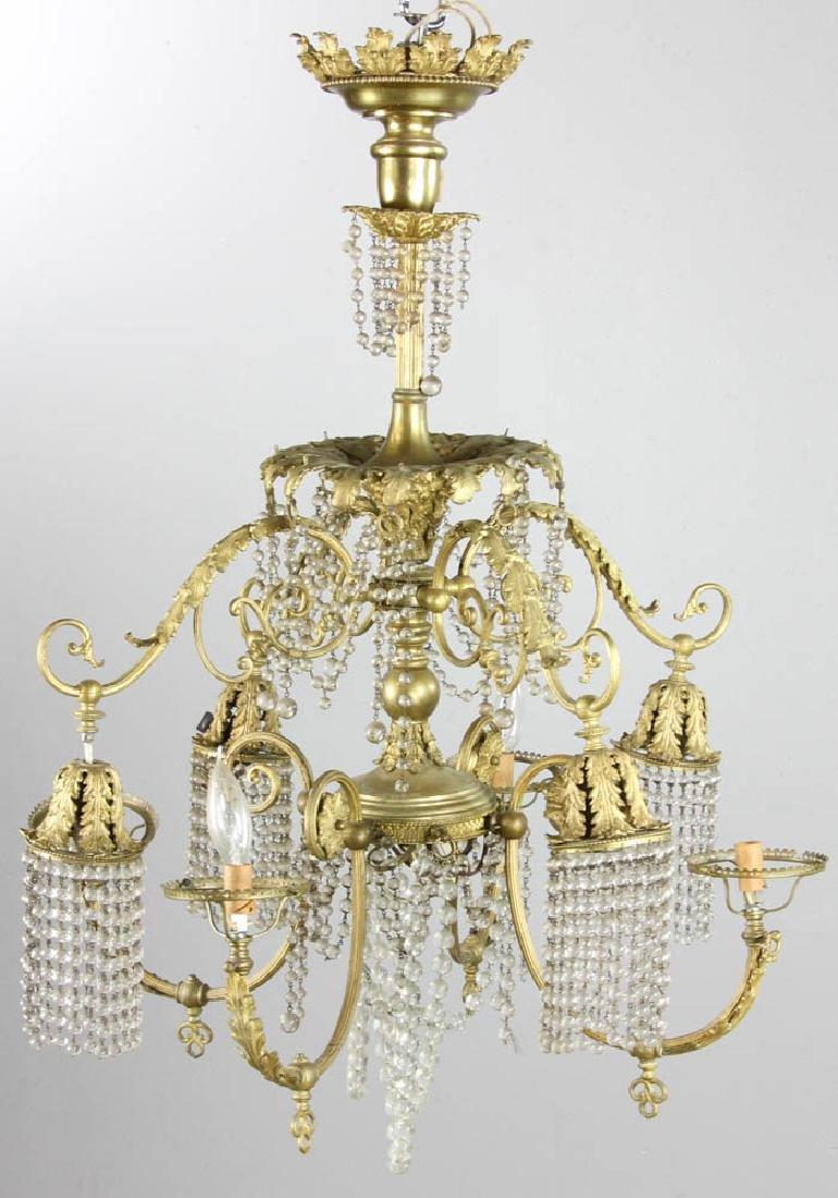 Antique Brass Chandelier - 4