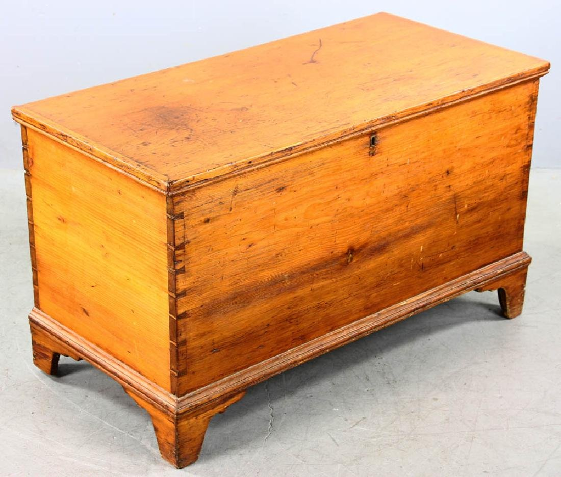 Antique Dovetailed Pine Blanket Chest - 2
