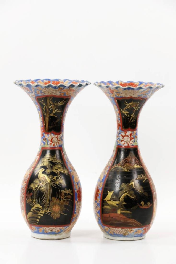 Pr of Meiji Period Japanese Imari Vases