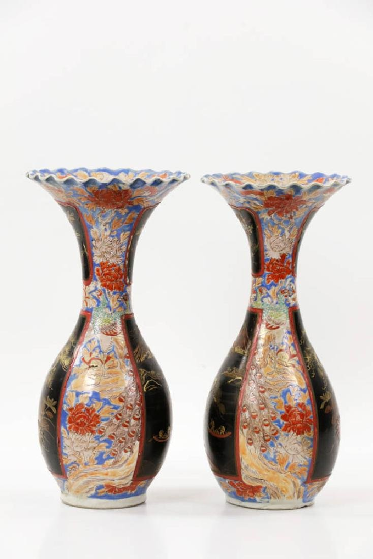 Pr of Meiji Period Japanese Imari Vases - 2