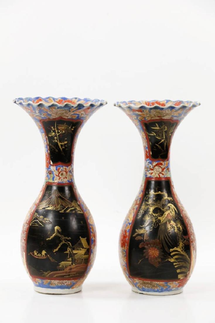 Pr of Meiji Period Japanese Imari Vases - 3