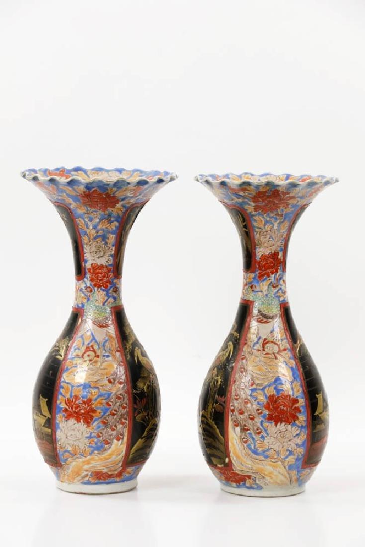 Pr of Meiji Period Japanese Imari Vases - 4