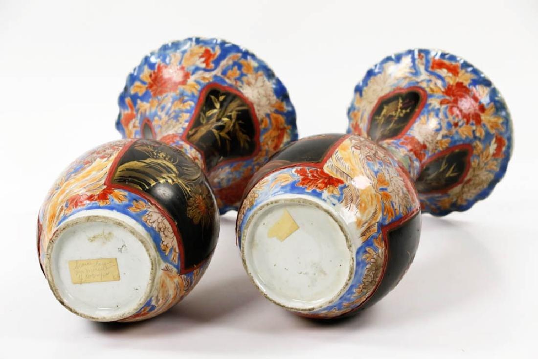 Pr of Meiji Period Japanese Imari Vases - 6