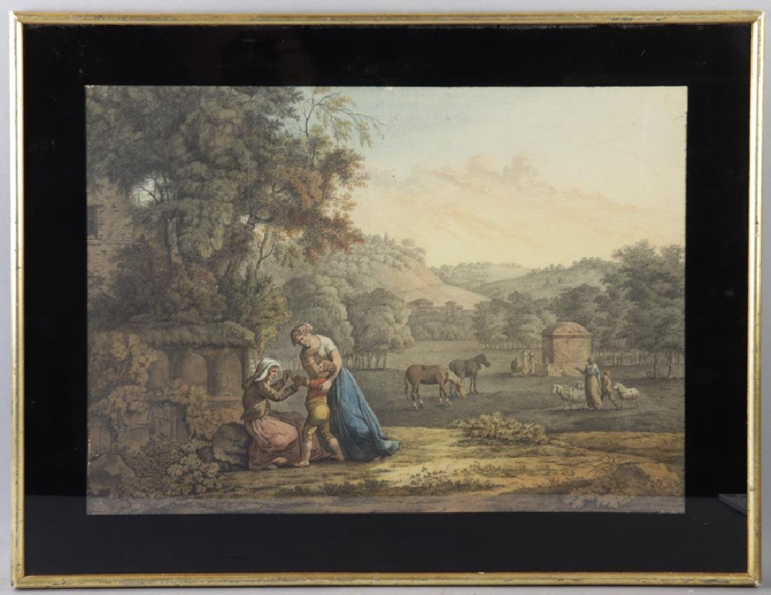 18thC Italian Landscape with Figures, Watercolor