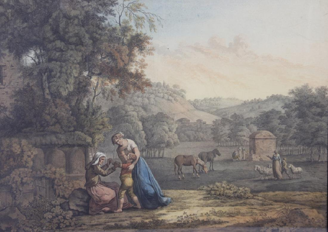 18thC Italian Landscape with Figures, Watercolor - 2