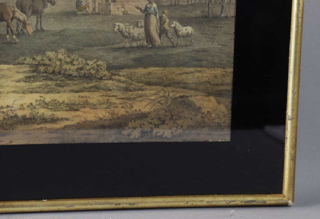 18thC Italian Landscape with Figures, Watercolor - 3