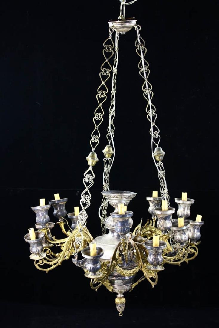 Antique Russian Brass and Silverplate Chandelier