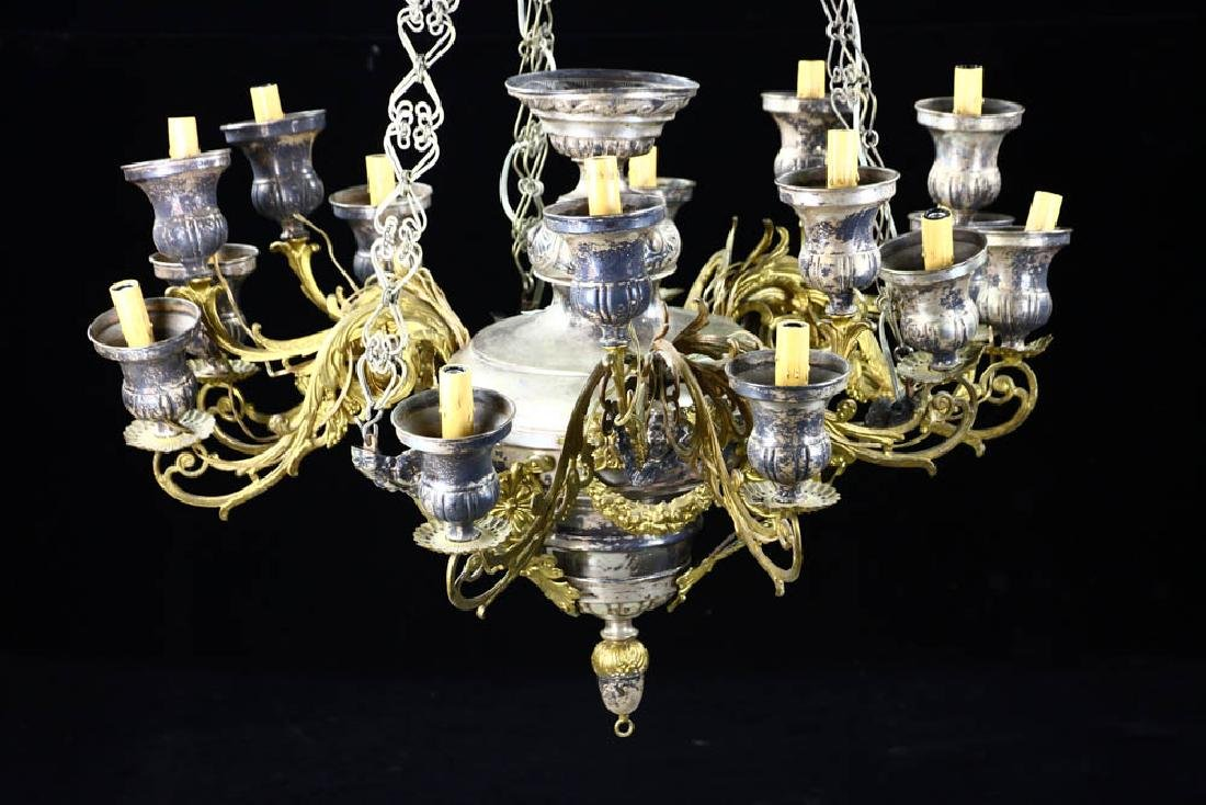 Antique Russian Brass and Silverplate Chandelier - 2