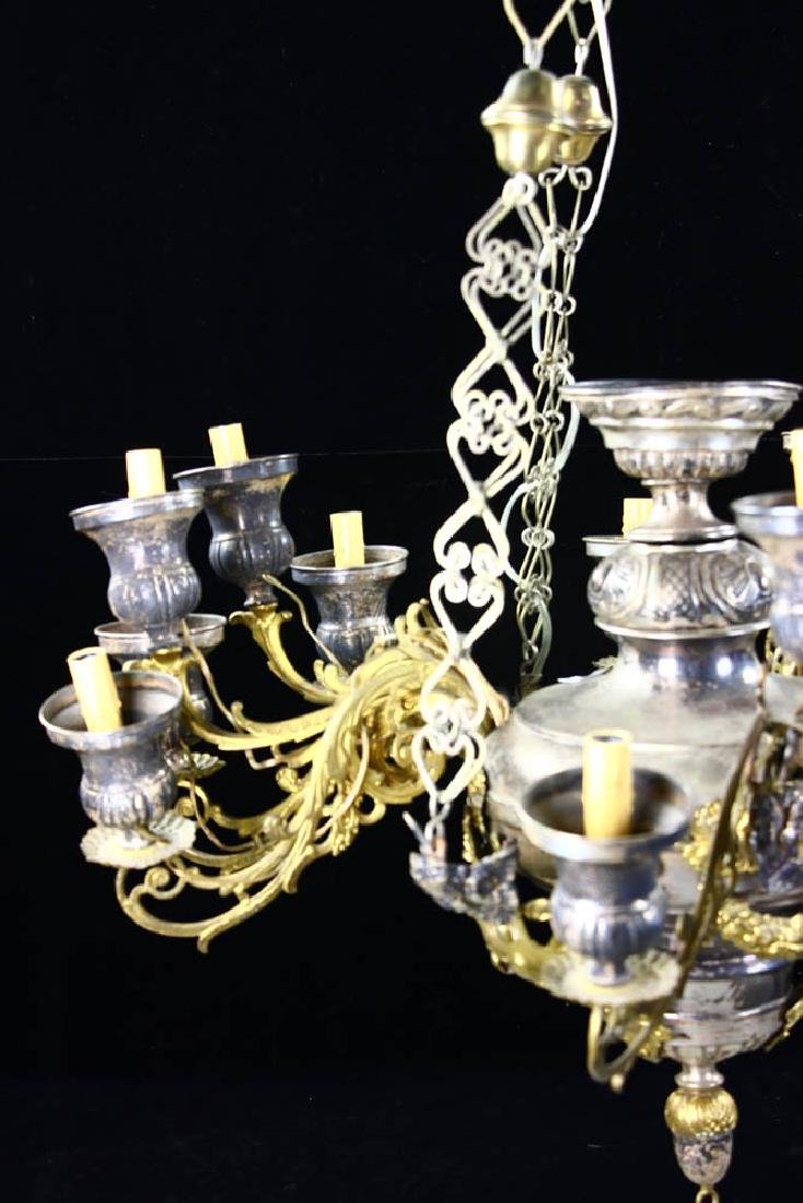 Antique Russian Brass and Silverplate Chandelier - 4