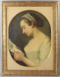 Attr to Chardin, Portrait of Young Woman
