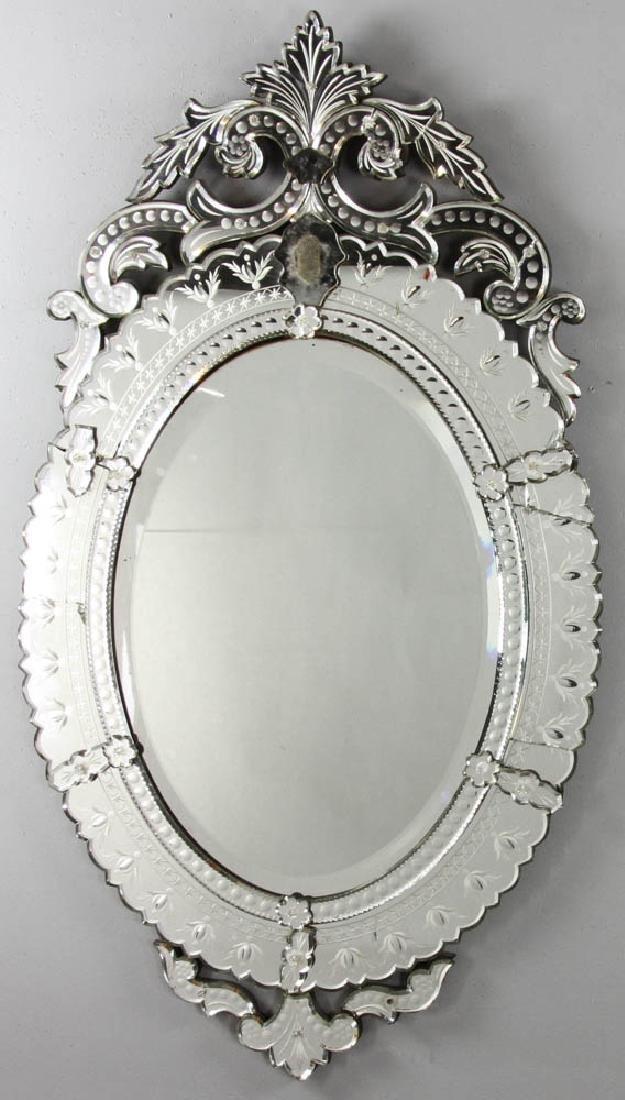 Venetian Glass Mirror with Beveled Panel