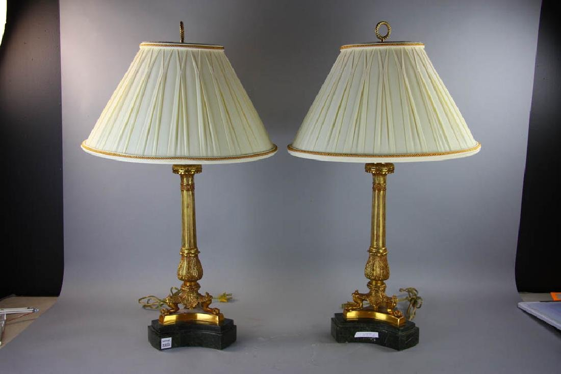 Pair of Maitland Smith Brass Lamps