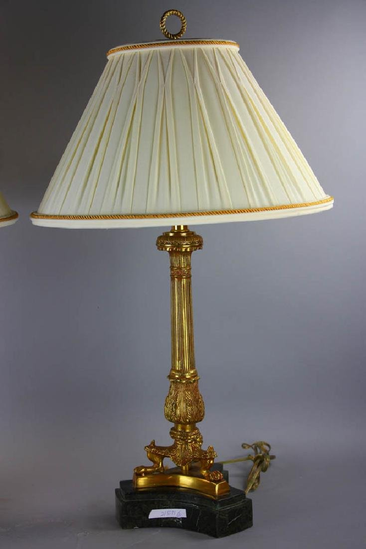 Pair of Maitland Smith Brass Lamps - 5