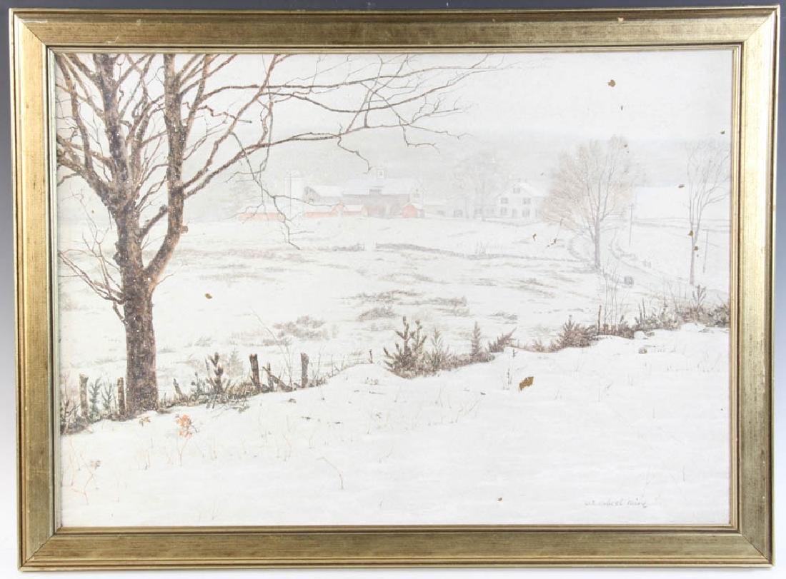 W. Robert Paine Oil on Board Farm Scene
