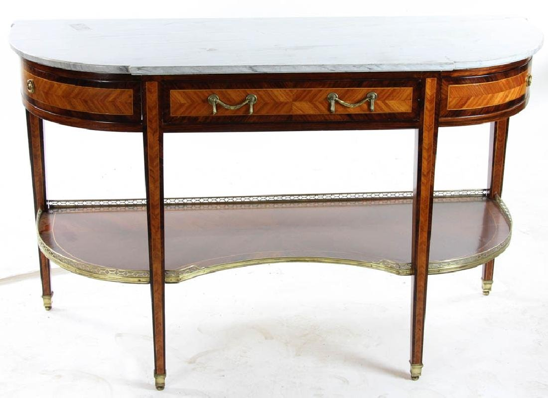 Louis XVI Style Marble Top Console Table