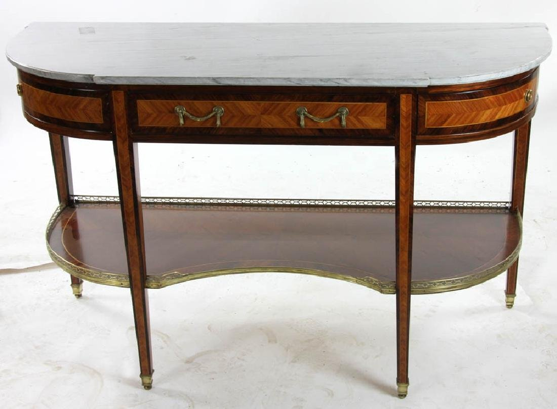 Louis XVI Style Marble Top Console Table - 2
