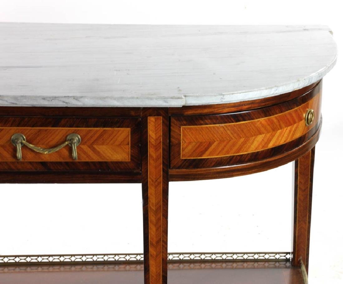 Louis XVI Style Marble Top Console Table - 4
