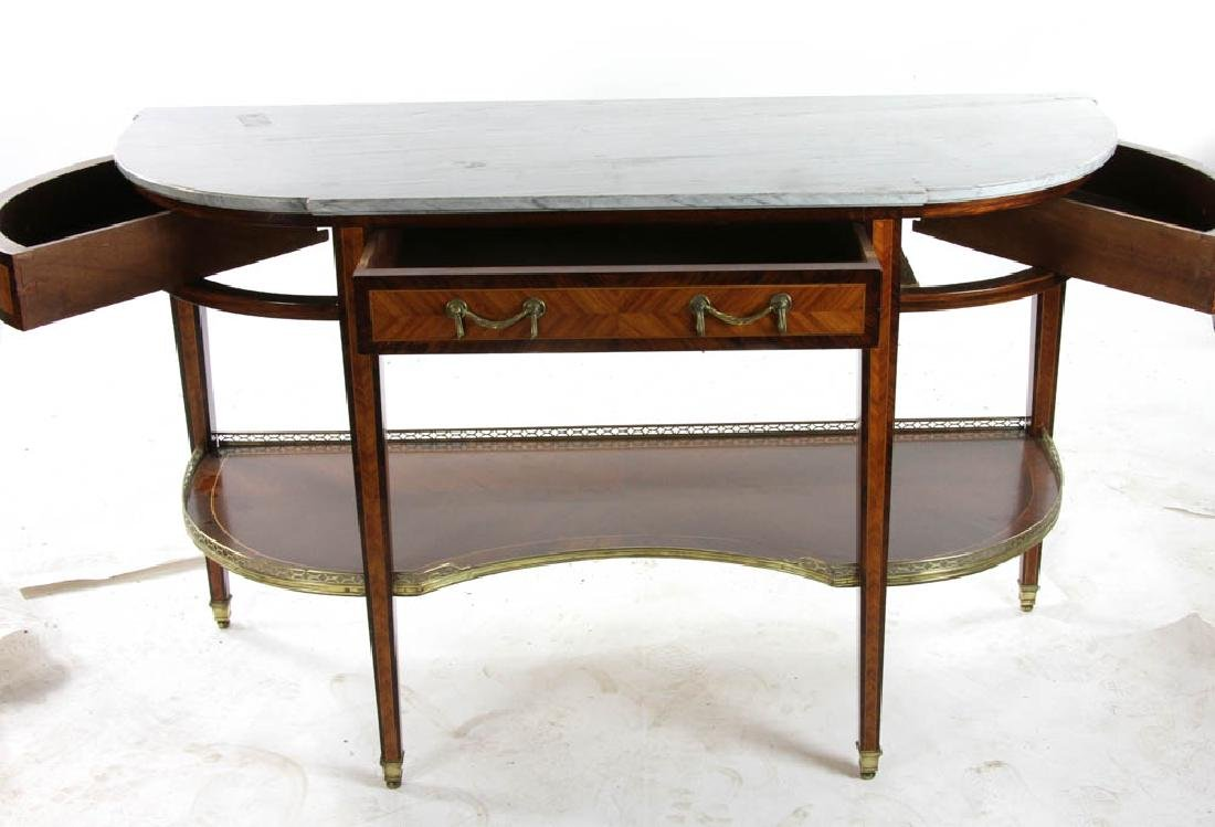 Louis XVI Style Marble Top Console Table - 5