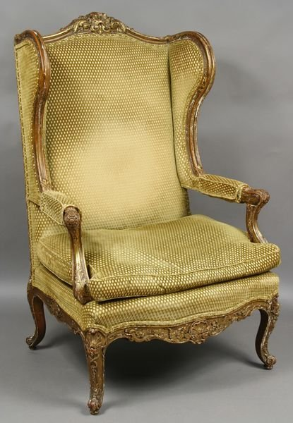 1: Mid 19th C. Louis XIV-style Wing Chair