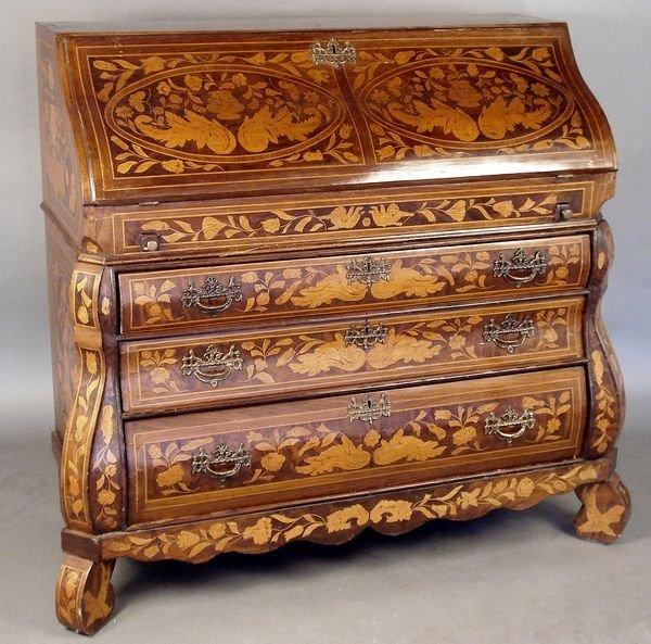 7: 19th C. Dutch Marquetry Slant Lid Desk