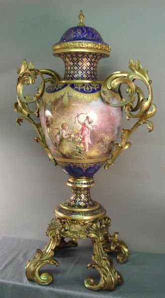 122: 19th C. Sevres Covered Urns, Sgnd.