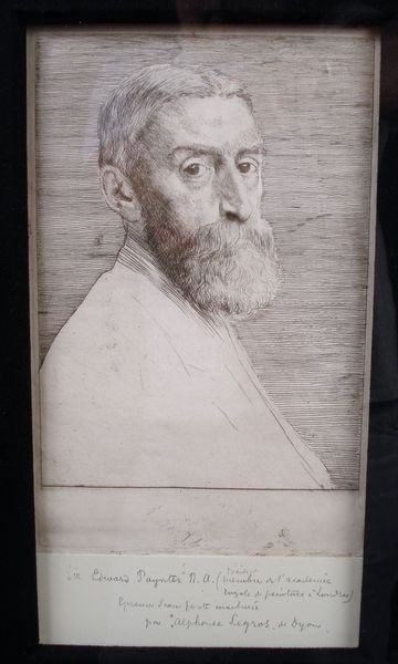 """162: Alphonse LeGros, """"Engraving of Gentleman"""" - 2"""