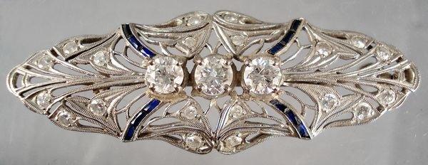 21: 1920's Deco 14KT Diamond & Sapphire Pin
