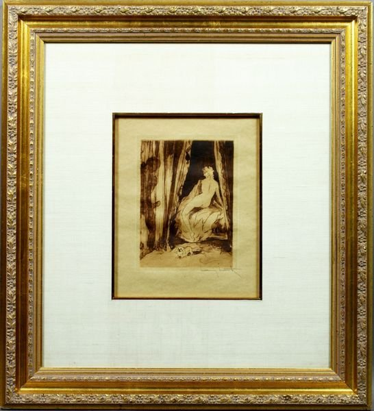 """15A: Louis Icart, Drypoint, """"Nude in the Shadows"""""""