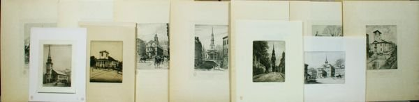 1014: (11) Etchings of Boston Landmarks, with Text